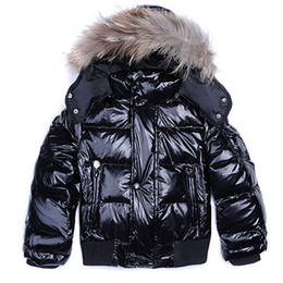 Wholesale Real Retail Sales - Fashion Brand Winter Down Hooded Jackets Warm for Boy Girl Real Raccoon Fur Kids Coat Retail Outerwear Children Sale
