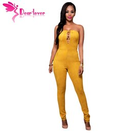Wholesale Jumpsuits Longo - Wholesale- Dear-Lover Sexy Bodycon Long Jumpsuit Women Romper Yellow Deep V Lace-up Faux Suede Strapless Night Club Macacao Longo LC64157