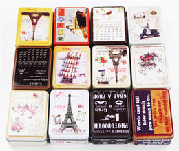 Wholesale Food Container Organizer - 24 Pieces Lot Vintage Style Tin Box Mac Makeup Organizer Macaron Cookies Case Metal Candy Jewelry Storage Box Food Container