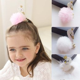 Wholesale Swan Kid - New Sweet 3D floral swan Sequin Baby Barrettes Flower feather Girls Hair Clip Children Hair Accessories Kids Alligator Clips Hairclips A1112