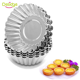 Wholesale Shaped Cake Tins - Delidge 10 pcs  lot Flower Shape Egg Tart Mold Aluminum Metal 7 cm Cupcake Cake Cookie Mold Tin Baking Egg Tart Tools