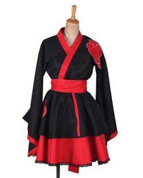 Anime kimonos rojo online-Kukucos Anime Naruto Lolita vestido de color rojo oscuro estilo kimono cosplay traje Halloween partido de vestir