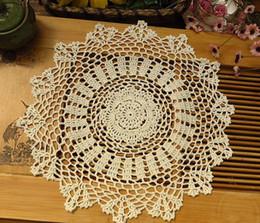 """Wholesale round table sizes - Wholesale- 6pcs13.8 """" R crochet beige doilies handmade round doilies for home decor, crochet centerpiece, table mat, coasters. Size options"""