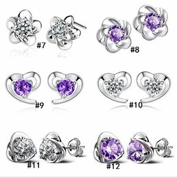 Wholesale Silver Earring Pure - 2018 S925 pure silver ornaments Sterling silver earrings Han edition women's earrings allergy Micro inlay zircon jewelry earring