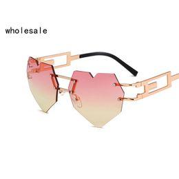 Wholesale Heart Glasses Frames - New Heart Design Fashion Sunglasses Women Transprent Red Pink Lenses Metal Frame Sun Glasses UV400 OK113 520
