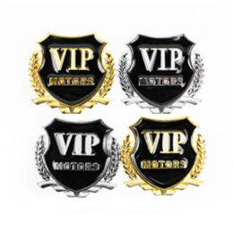 Wholesale Vip Decal Stickers - OTOKIT Brand New 2pcs set VIP MOTORS Metal Car Chrome Emblem Badge Decal Door Window Body Auto Decor DIY Sticker Car Decoration