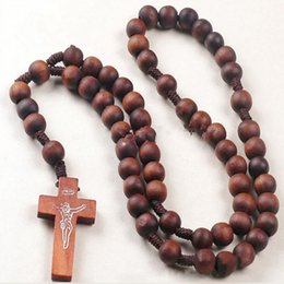 Wholesale Wholesale Retro Beads - Wholesale-Retro Style Men Women Catholic Christ Wooden Rosary Bead Cross Pendant Woven Rope Necklace 8mm