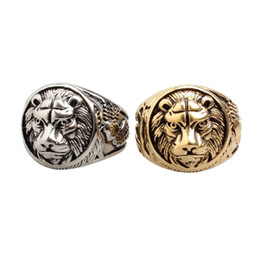 Wholesale Tibet Silver Lion - hot selling jewelry Retro vintage lion head anti rust retro 316l stainless steel fashion designer mens rings