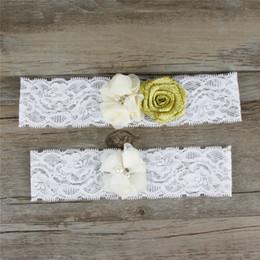 Wholesale White Rose Belt Wedding - Rose Gold Wedding Garter Bridal Belt For Women Plus Size Sexy White lace Jewely Set Prom Toss Rhinestone Diamond Leg Garter Straps