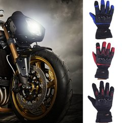 Wholesale Red Leather Gloves Men - New Winter Gloves Men Luva Moto Motorcycle Gloves Racing Waterproof Windproof Winter Warm Leather Cycling Bicycle Cold Motorcycle Gloves