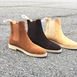 muscle men dresses Promo Codes - Handmade Vintage Genuine Leather Fashion Men's Chelsea Boots Luxury Brand Fur Men's Party Wedding Dress Shoes Kanye West Shoes Ankle Boots