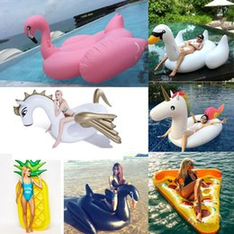 Wholesale Inflatable Pool Toys Wholesale - 190CM Giant Inflatable Flamingo Unicorn Swan Pegasus Pool Toy Swimming Float Swan Cute Ride-On Pool Swim Ring For Summer Holiday Fun Party