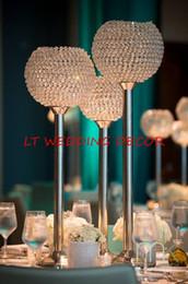Wholesale Crystal Ball Wedding Centerpiece Wholesale - Big crystal ball wedding centerpiece table centerpiece flower stand candle holder wedding pillar 26cm diameter 90cmTall