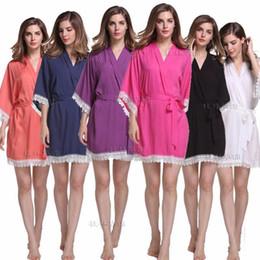 Wholesale Lace Kimono Bathrobe - Wholesale- Sexy Lace Women Night Dress V-Neck Cotton Ladies' Kimono New Style Yukata Bathrobe Gown Bridal Wedding Robes Casual Nightgown