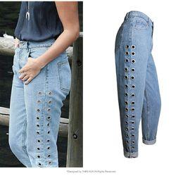 Wholesale Womens Capris Xl - 2017 Fashion Rivets Ripped High Waist Jeans Straight Eyelet Detail Boyfriend Style Denim Jeans Womens Rivet Pants Female Jeans plus size