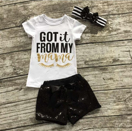 Wholesale Winter Birthday Outfits Baby Girls - Baby Girl Summer outfit Ins Baby Letter Eyelash T-shirt+Black Sequin Shorts+Sequin Striped Headband Set Kids Birthday sequin Clothing Sets