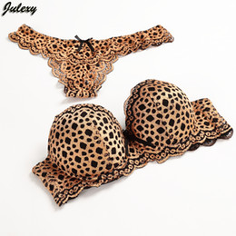 Wholesale Sexy Leopard Bra - Julexy Gold Leopard Temptation Lace Thongs Women Bra Set Intimate Plus Size ABC Push Up Bra Brief Sets Sexy Underwear Panty Set