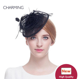 Wholesale Black Feather Fascinator Hat - Wedding hats multiple Colour British wedding hats Linen and feather material Occasion Elegant hats for wedding