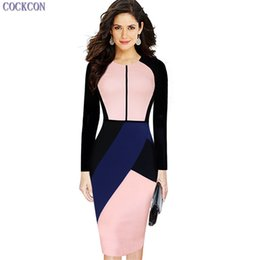 Wholesale Color Block Dresses Office - COCKCON New Womens Elegant Irregular Color Block Patchwork Slimming Cotton Wear to Work Office Sheath Stretch Bodycon Pencil Dress 100