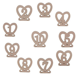 Wholesale Hearts Table - 10pcs set 1-10 Wodden Wedding Table Numbers Heart Shaped Party Table Number Tag Stand Wedding Table Decoration