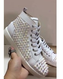 Wholesale Pink Diamond Wedding Shoes - 2018 new Size 36-47 men Sneakers spikes Diamond Red Bottom Sneakers high top For Men Party Wedding Casual Shoes free shipping
