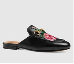 Wholesale Popular Slippers - 2017 New Designer Embroidery Shoes Genuine Leather Flower Flat Loafer Metal Decorated Europe Most Popular Leather Slippers