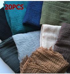 Wholesale Hijab Shawls Wholesale - Wholesale- H89 20pcs cotton crinkle scarf hijab shawl 180*110cm 100% thicker can choose colors