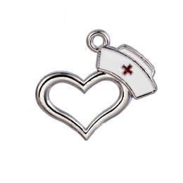 Wholesale Wholesale Nursing Caps - Online Wholesale Heart Medical Charms Nurse Cap Enamel Alloy Pendant Charms 21*23mm AAC1443