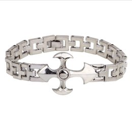 Wholesale long cross bracelet - New Arrivals Titanium Steel Christian Cross Crucifix 19cm Long Chain Bracelets Bangles Fashion Mens Jewelry Festive Hot Gift