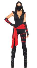 Wholesale Lingerie Mask - Halloween Sexy Ladies Female Ninja Costume Cosplay Lingerie Top +Capris + belt +riband +Mask female ninja halloween costumes