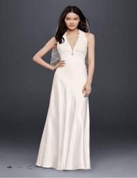 Wholesale Draped Charmeuse Dress - Custom Made 2016 New Free Shipping Charmeuse Sheath Wedding Dress with Lace Halter Style 644796 Wedding Dress