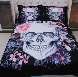 king size skull bedding Sconti Europa Style Skull Flower Design Cotone poliestere 3 pezzi Set biancheria da letto Federa matrimoniale Queen King Super King Size 401