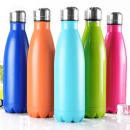 Wholesale Bowl Cup - 10 Colors Water Cup Bottles Vacuum Insulation Mug 500ML Stainless Steel Cola Bowling Shape Travel Mugs Sports Bottle CCA6927 10pcs
