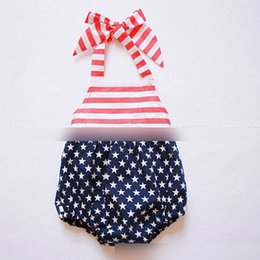Wholesale Stars Suspender - Europe America Style Rompers Star Striped Flag Bowknot Belt Romper Toddler Clothing Bodysuit Sleeveless Suspender Shorts Rompers A6999