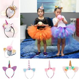 Wholesale Hair Band Ear Cat - 19 Colors Baby Girls Unicorn Cat Ears Hair Sticks Infant Cartoon Hair Bands Kids Hair Accessories Halloween Flowers Headdress CCA7059 50pcs