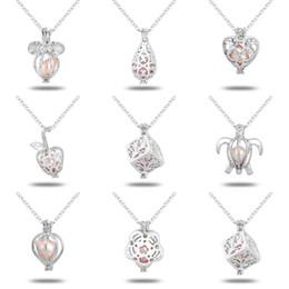 Montanti per ciondoli online-Wholeasle (compresa la catena) 18kgp Fashion Love Wish Perla / Perle Pendenti Locket DIY Collana di perle Pendenti di fascino Montaggi