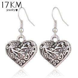 Wholesale antique chandelier earrings - 17KM 2016 New Tibetan Antique Silver Color Hollow Heart Drop Earring for Women boho Retro Vintage Flower Dangle Earing