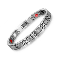 Wholesale fiber link - Hot Sale Men Magnetic Bracelets&Bangles For Men Jewelry Health Care Carbon Fiber Hand Bracelets Bangles Free Shipping B865S