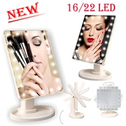 Wholesale ups usb charger - New 360 Degree Rotation Touch Screen Makeup Mirror Cosmetic Folding Portable Compact Pocket With 16 22 LED Lights USB Charger Make up Tool