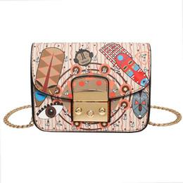 Wholesale Handbag Preppy Style Messenger Bag - Luxury Handbags Designer Handbags Women Hit Color Printing PU Leather Bags New Wave Handbag Brand Fashion Female Shoulder Messenger Bag