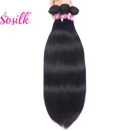 Wholesale Remy Bulk Hair Extensions - So Silk Straight Malaysian Peruvian Brazilian Hair Weave 3 Bundles Cheap Hair Extension Weft Remy Human Hair Straight Bulk Free Shipping