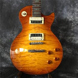 Wholesale Electric Guitar Yellow Inlay - Custom Shop Tiger Yellow Custom Electric Guitar Beauty Inlay Wholesale Guitars HOT