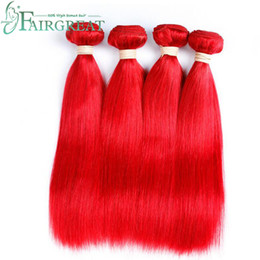 Wholesale Red Weave Extensions - Fairgreat Straight Human Hair Bundles #Red Color Peruvian Indian Malaysian Mongolian Brazilian Double Weft Virgin Hair Extensions Non Remy