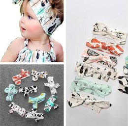 Wholesale Banana Print - 25 styles cartoon INS bowknot headbands banana fruit Print kids Hair accessories fashion lovely bow kids baby children hairband