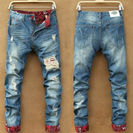 Wholesale Fashion Mens Designed Straight Slim Fit Denim Jeans Casual Skinny Hole Washed Jeans