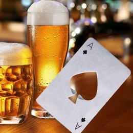 Wholesale Poker Shapes - New Stainless Steel Poker Card Shaped Beer Bottle Opener Red Wine Cap Opener Kitchen Cooking Tools Free Shipping
