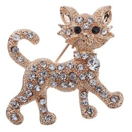 Wholesale Gold Rhinestone Brooch Buckle - Lovely Cat Full of Crystal Brooches Silk Buckle Fashion For blouse and dress NE742