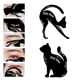 Wholesale Wholesale Eyeshadow Applicator - Cat Eyeliner Stencil Matte PVC Material Smoky Eyeshadow Applicators Template Plate Professional Multifunction Black Cat Shape Eye linner new