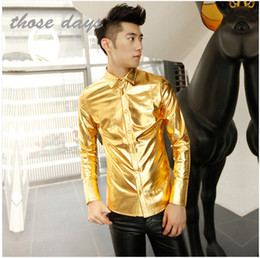Wholesale Long Sleeve Leather Shirt Mens - Wholesale- Mens Gold Shirt Stage Costumes For Signers Men Camisa Masculina Silver Gold Men Faux Leather Paillette Luxury Club Men Shirt