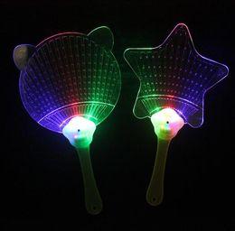 Wholesale Light Toy Fan - 2017 New Halloween Christmas Colorful Flash Fan Light Emitting Fans Pushan Advertising Gift LED Flash Light Fan Toys Party Fan